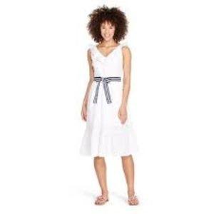 Sleeveless Ruffle Tie Waisted Midi V-Neck Dress